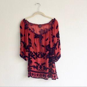 Hale Bob Red Silk Velvet Tunic Sz XS